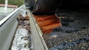 A damaged roof in Salem, OR prior to being repaired by Slate & Slate Roofing