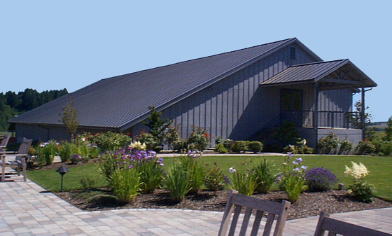 The Willakenzie Winery with a metal roof installed by Slate & Slate Roofing