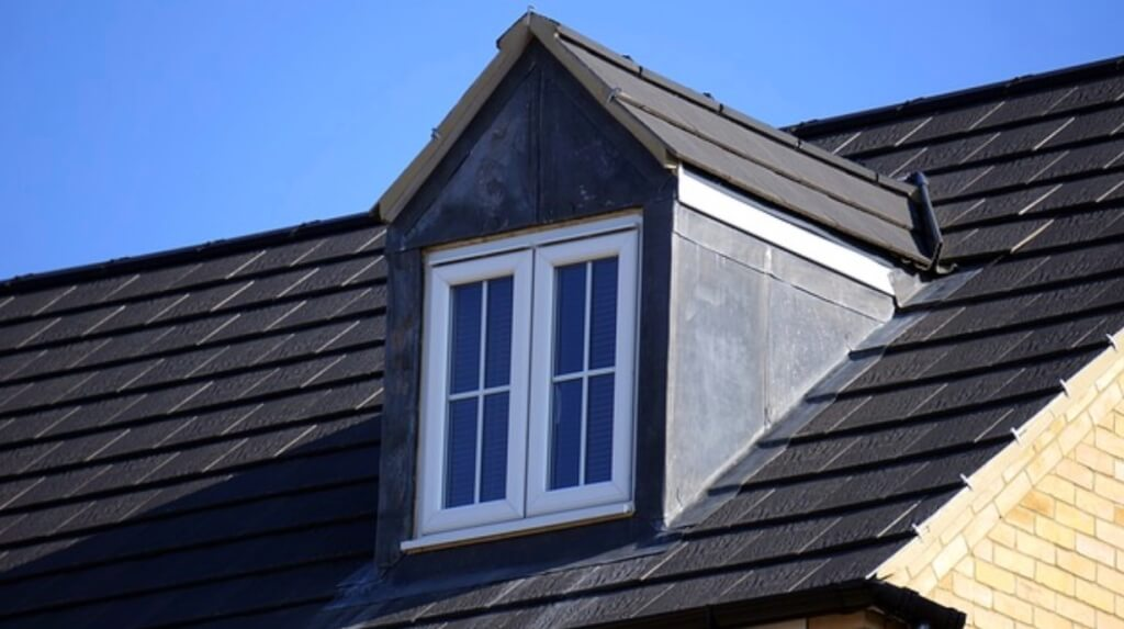 A picture of a freshly installed, fire-resistant roof
